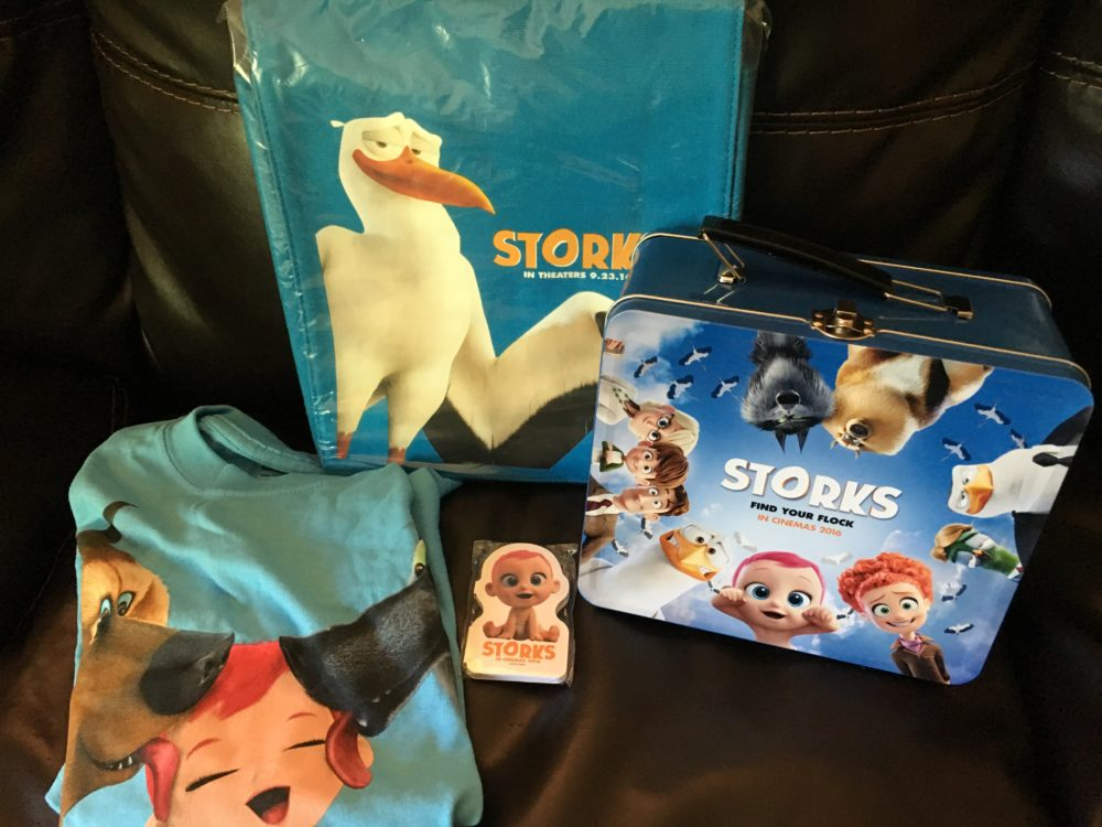 Storks youth t-shirt, lunchbox, backpack and sticky notes. photo by Corrina Lawson