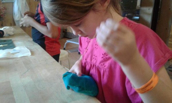 MakeShop sewing at the Children's Museum of Pittsburgh
