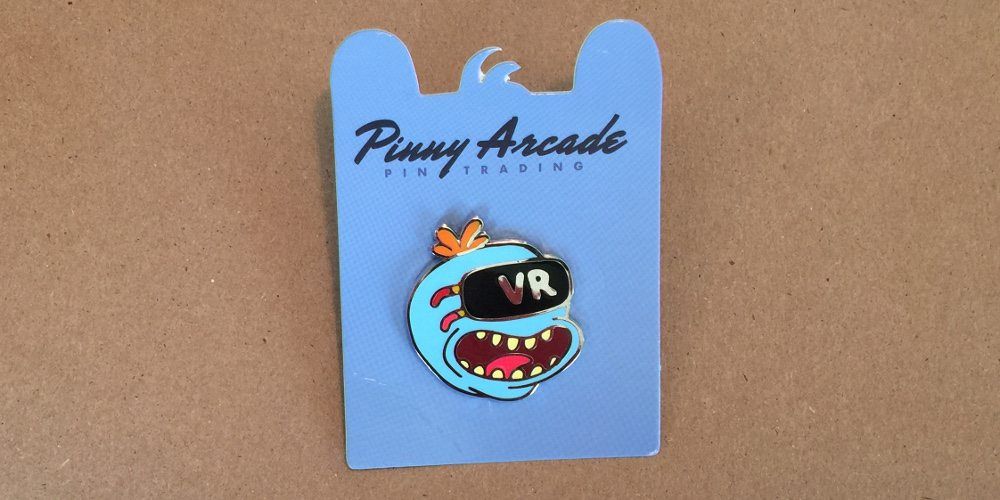 Pinny Arcade pin showing Mr. Meeseeks from Rick and Morty, wearing a VR headset.