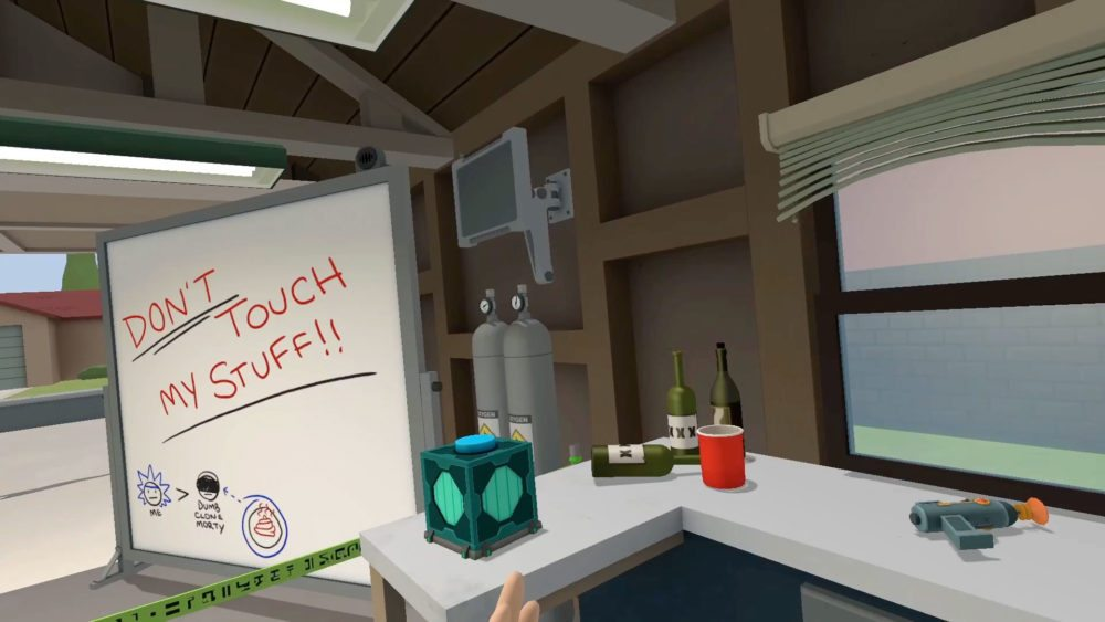 Scene from inside the garage in Rick and Morty Simulator: Virtual Rick-ality showing Rick's white board and a message to the dumb Morty clone telling him not to touch Rick's stuff.