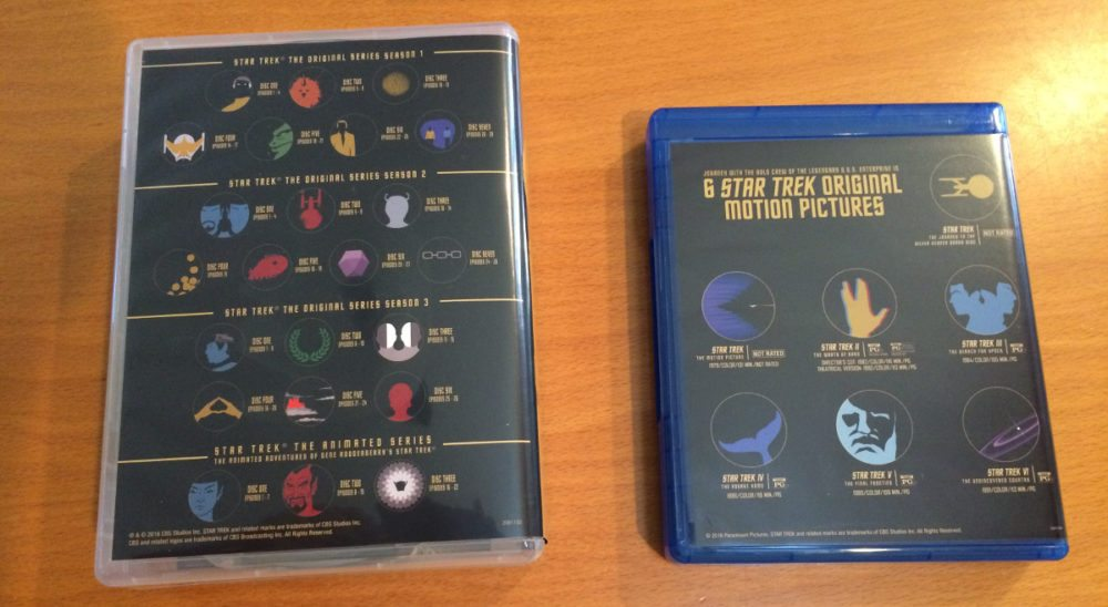 The backs of the Blue-ray containers display the new disc art at a glance. Photo: Jenny Bristol