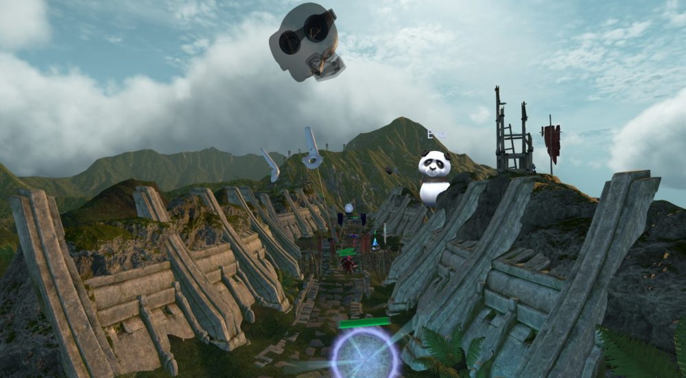 "VReal: A floating head looks down on a valley, aiming Vive controllers to interact with the battlefield. A panda with the name ""Eva"" stands on one of the slopes, watching the game."