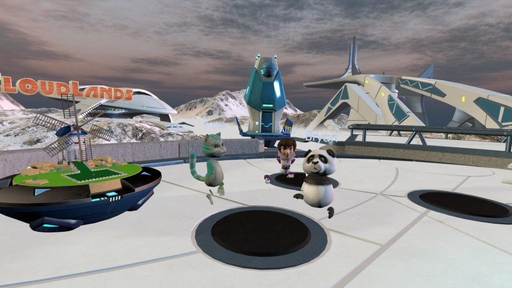A cat, human, and panda avatar in the VReal lobby, showing the CloudLands game station behind them.