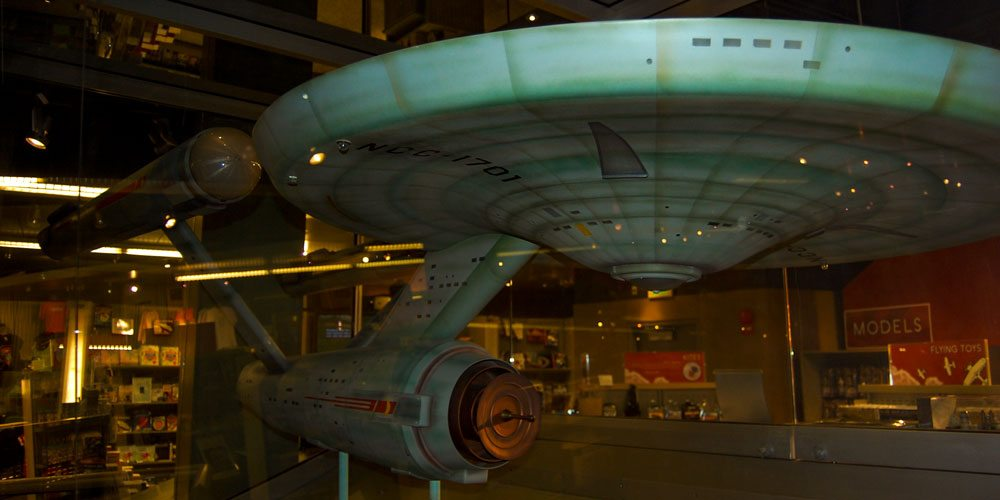 One of the original shooting models of the USS Enterprise at the Smithsonian Air & Space Museum. Photo by Rob Huddleston.