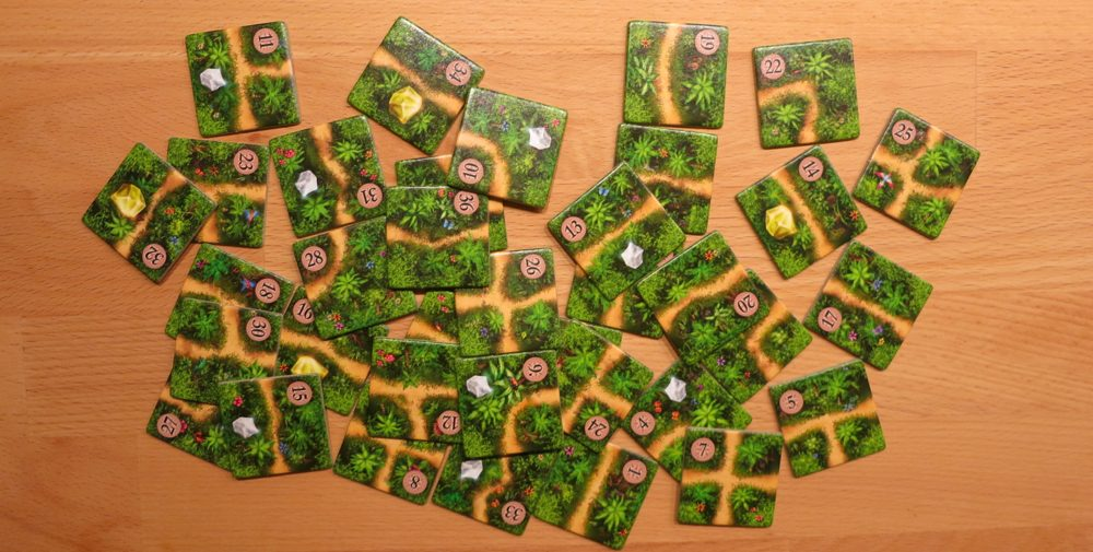 Karuba's path tiles. You will pray for numbers 7, 8, 25, or 26! Image: Bernd Grobauer