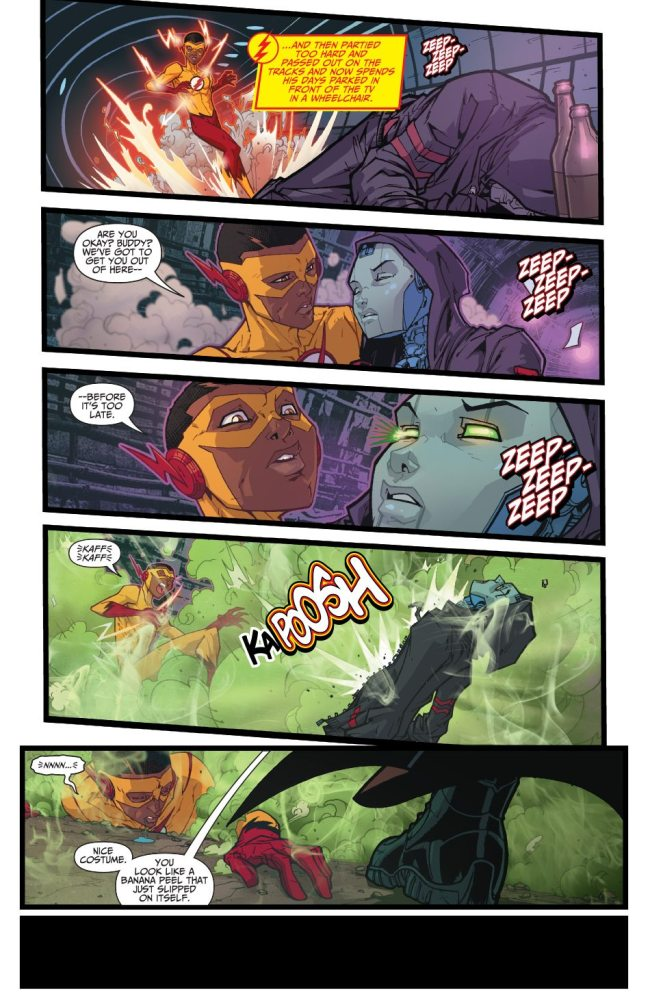 Kid Flash's segment in Teen Titans, where the artist shows off. :) Image copyright DC Comics