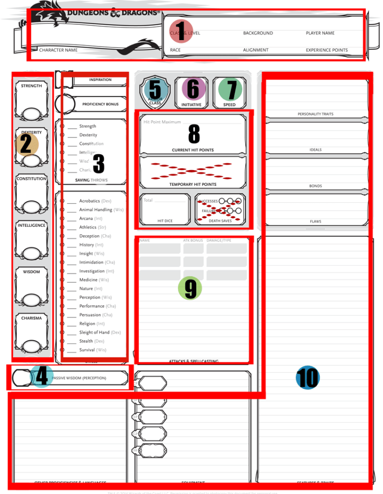 Character sheet original by Wizards of the Coast, marked for educational purposes