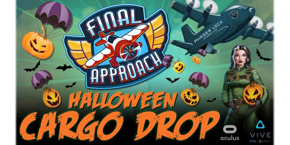 Promotional art from Final Approach for the Halloween Cargo Drop including a tylized aircraft, orange lettering, a female pilot holding a jack-o-lantern (instead of a helmet), and green backlight.