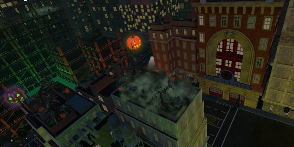 Close-up of a rooftop in Halloween themed 'Final Approach' Metro City, showing spooky trees and colored pumpkins.