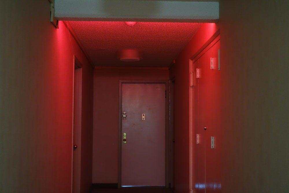 The Phlilps Hue LightStrip makes the darkened hallway spooky.