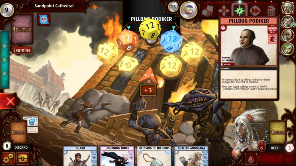 """A mix of dice in """"Pathfinder Adventures"""" including yellow, marigold, orange, and Guardian blue dice."""