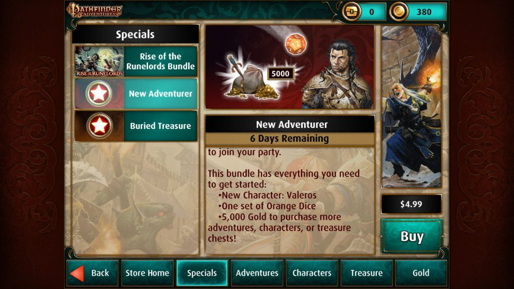 """The Pathfinder Adventures """"New Adventurer"""" bundle, showing a price of $4.99."""