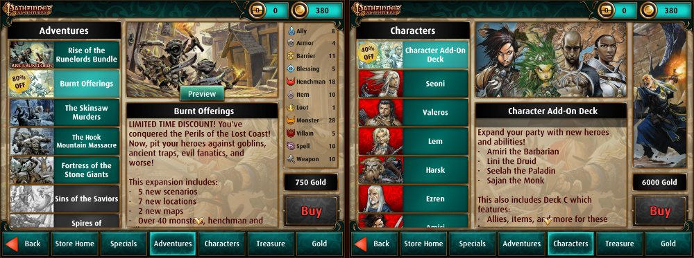 Side by side images of the adventures and characters available in the store in Pathfinder Adventures.