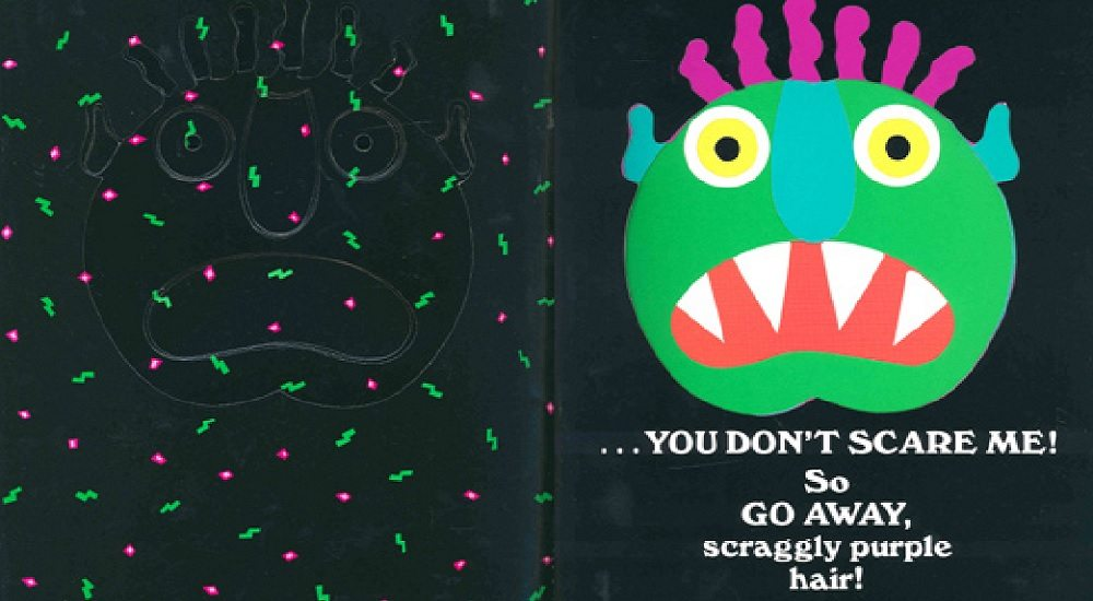 Interior spread from 'Go Away, Big Green Monster!' by Ed Emberley. Image: Little, Brown and Company.