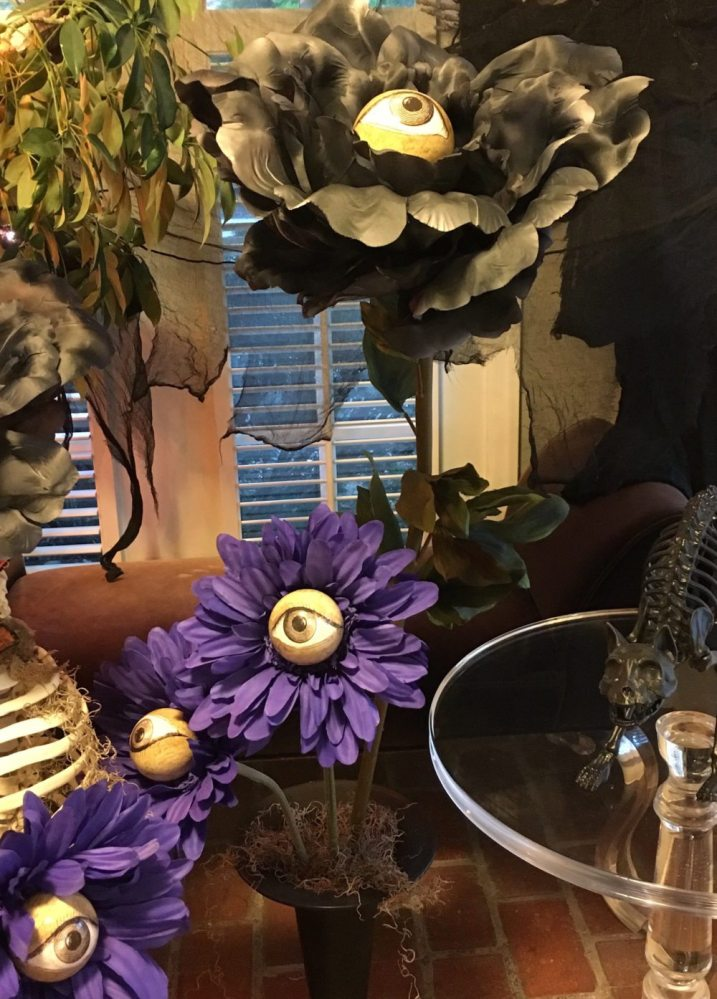 A vase full of eyeball flowers adds to the Halloween fun! Photo via author.
