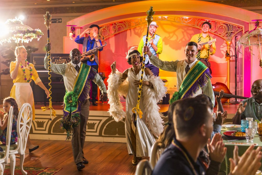 What's a New Orleans restaurant without a a parade? Tiana's Place is full of action. Fun fact, the woman in the yellow dress was one of our servers! (Matt Stroshane, photographer)