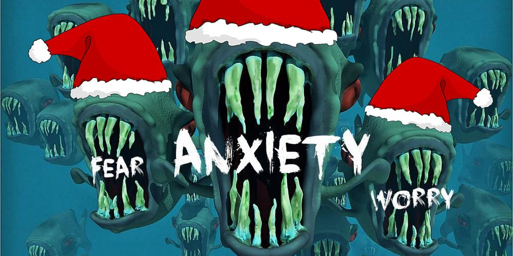 Happy Holidays from the anxiety piranhas  Image creative commons, wardrobe by Dakster