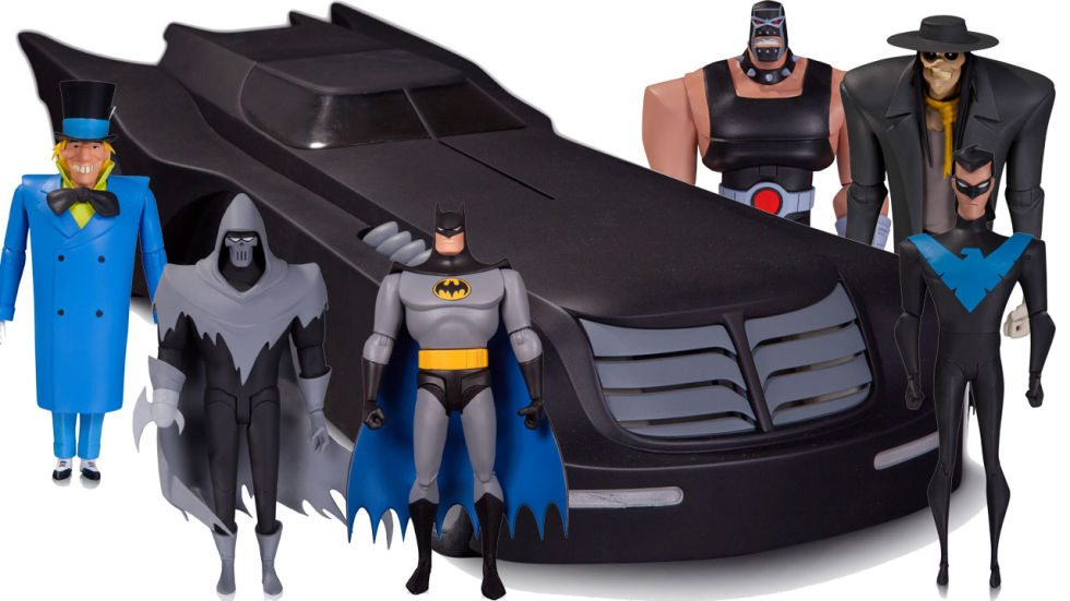 Batman: That Animated Series Batmobile. Oh, yeah, those other guys are available too. Images copyright DC Comics.