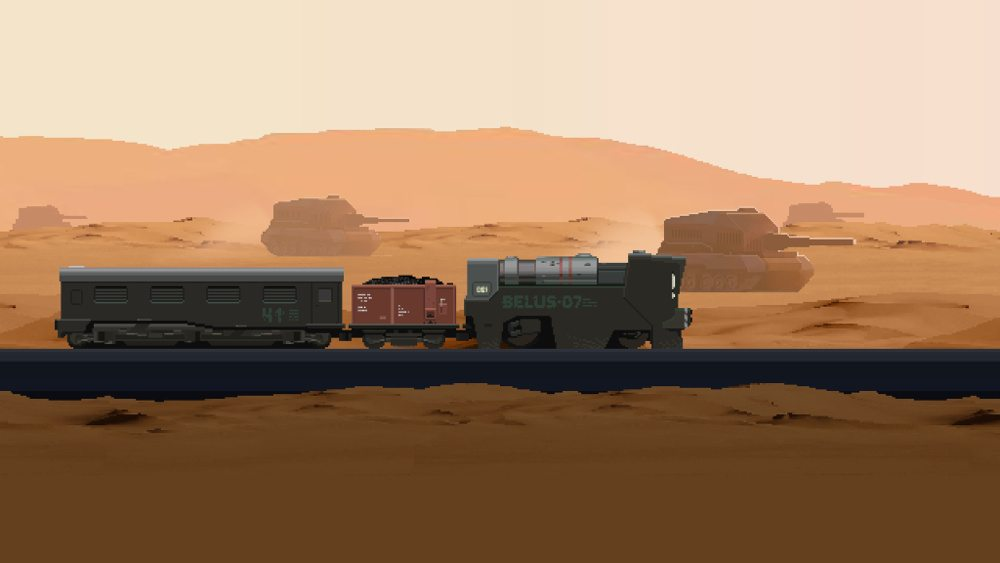 """A train labeled """"BELUS-07"""" with a coal coar and passenger car travels on rails across a desert landscape, tanks in the distance, in 'The Final Station."""""""