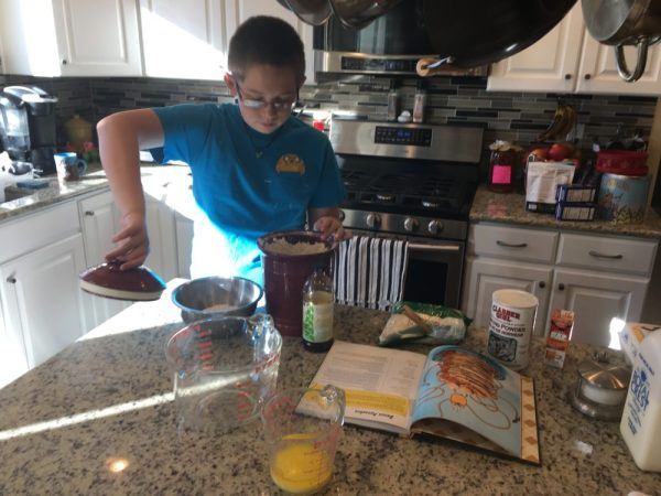 While the bacon baked, the 11-year-old made the pancake batter. He is really amazing in the kitchen, as long as I'm forgiving of the messes he makes. Image credit: Patricia Vollmer