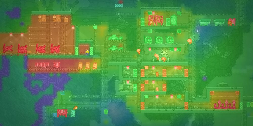 A heat map showing the hot spots and movement of heat, with hotter areas being red, overlaid on the ant farm map of Oxygen Not Included.
