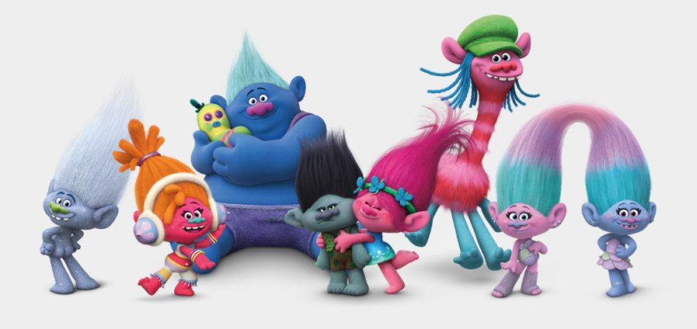 All the Trolls are ridiculously happy, except for Branch. Image: DreamWorks Animation LLC
