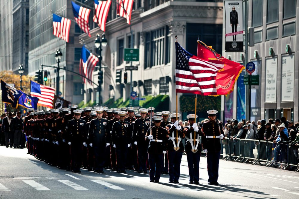 Marines march in New York City on Veterans Day 2011. Marine Corps photo by Sgt. Randall A. Clinton