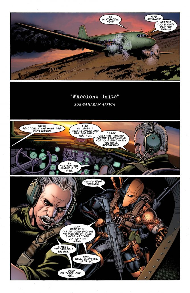 Deathstroke & Wintergreen, snarking at each other, as always. Image copyright DC Comics