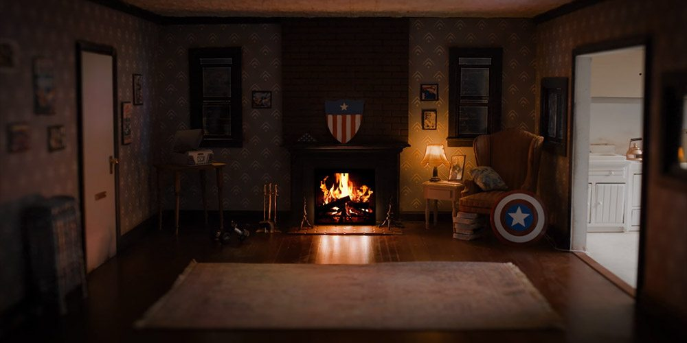 Yule Log burning in a fireplace in Captain America's apartment