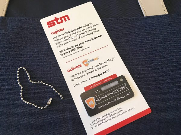 The RewardTags program helps your bag get found if it gets lost or stolen. Image credit: Patricia Vollmer