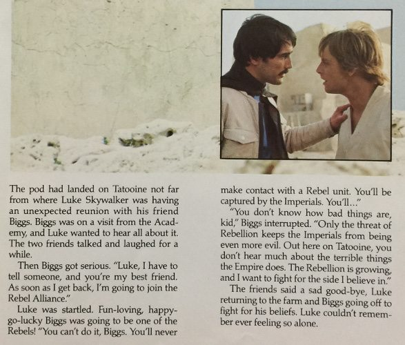 Text from the book and an inset picture of Biggs talking to Luke. The text has Biggs confiding in Luke that he plans to join the Rebel Alliance.