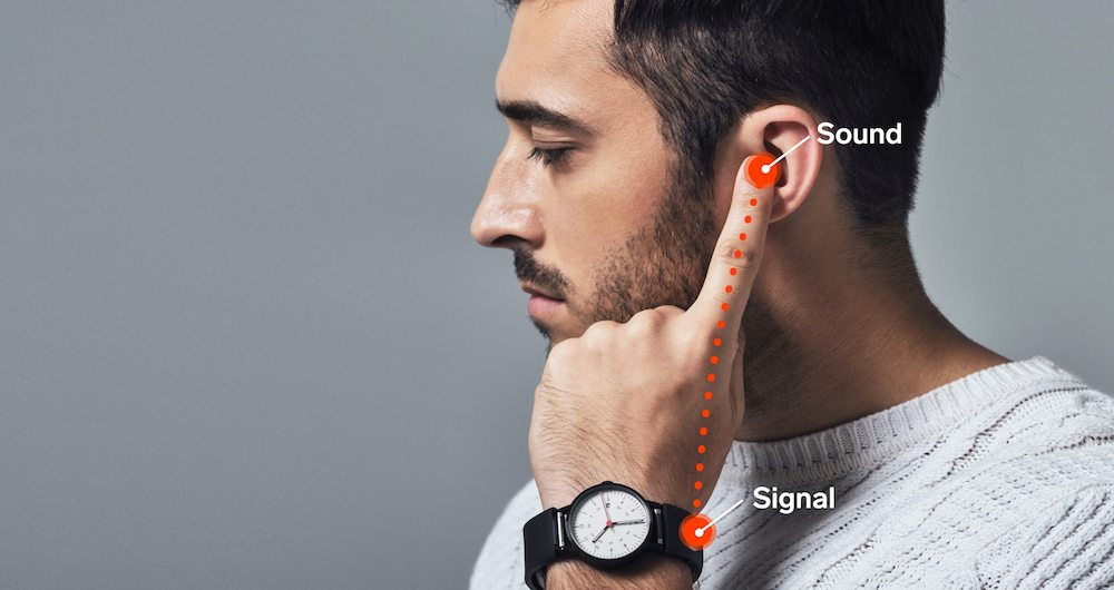 Sgnl Band Transmit Sound Through Your Fingertip.