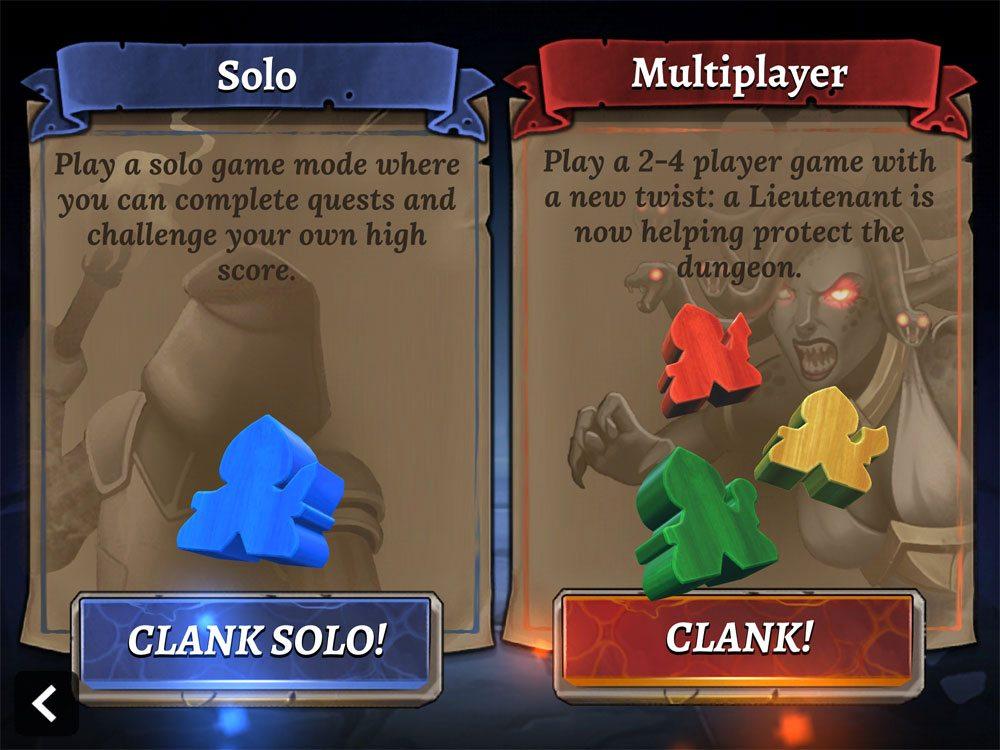 Clank! app menu