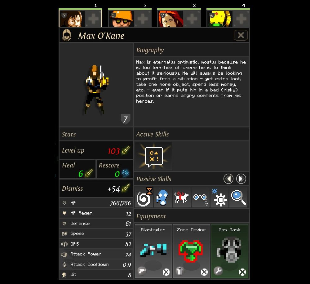 The character screen in Dungeon of the Endless reveals a set of statistics such as health, damage, defense, damage per second, and also shows character abilities and equipment.