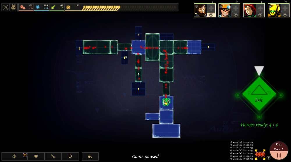 The strategic view in Dungeon of the Endless, showing a horde or red dots chasing down the heroes, who have reached the elevator. There is a green exit button lit up.