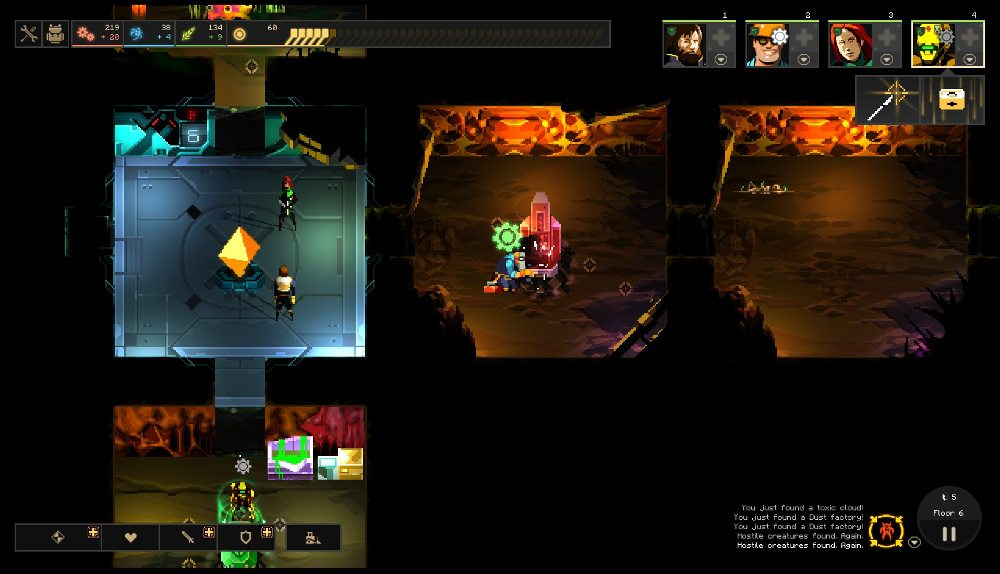 """The main interface in Dungeon of the Endless, showing heroes in rooms, with two characters """"operating"""" equipment, as shown by gear icons above their heads."""