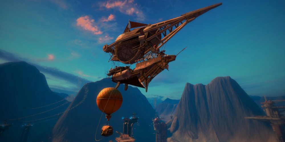 A steampunk airship is docked to a platform rising from a canyon floor, with a balloon also tethered in Guns of Icarus Alliance.