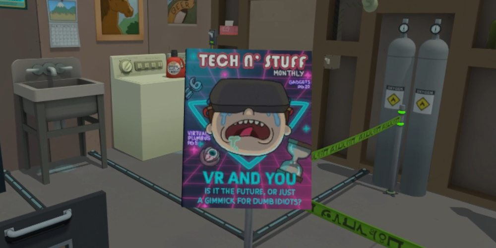 "The cover for ""Tech 'n Stuff"" with the subtitle ""VR and You Is it the future or just a gimmick for dumb idiots?"" and teasers for ""Virtual Plumbus"" and ""Gadgets"""
