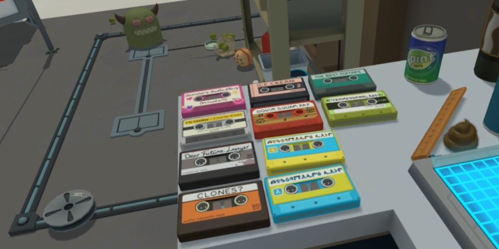 "A collection of 10 audio cassettes on the work bench in Rick's garage. Titles include ""Dear Future Lawyer"", ""Clones"", ""Ice Cream"" and ""The Best Mix Tape""."