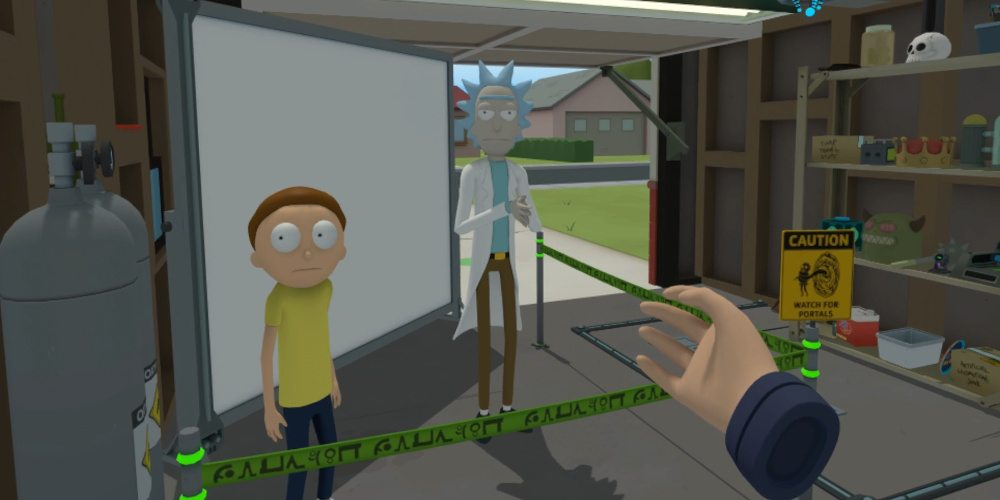 Rick and Morty start at the player (who is playing in first person view, so you see one of their hands) in Rick's Garage in Rick and Morty VR.