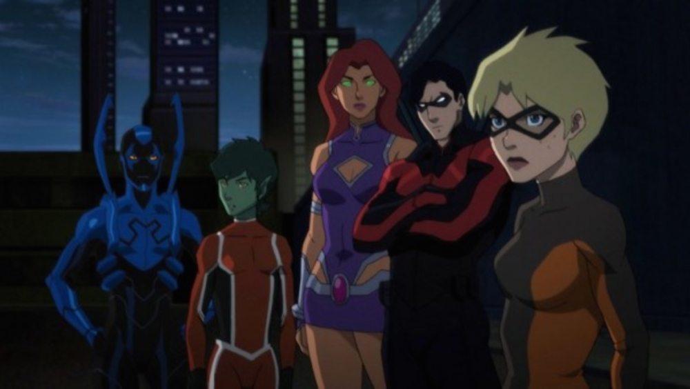 Blue Beetle, Beast Boy, Starfire, Nightwing, Terra. Missing: Raven