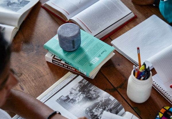Earl Gray version of FABRIQ speaker on a desk with study material