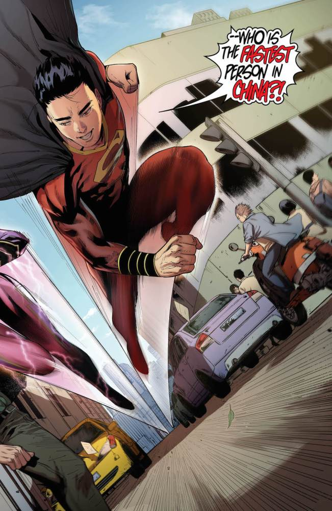 Super-Man races a version of the Flash