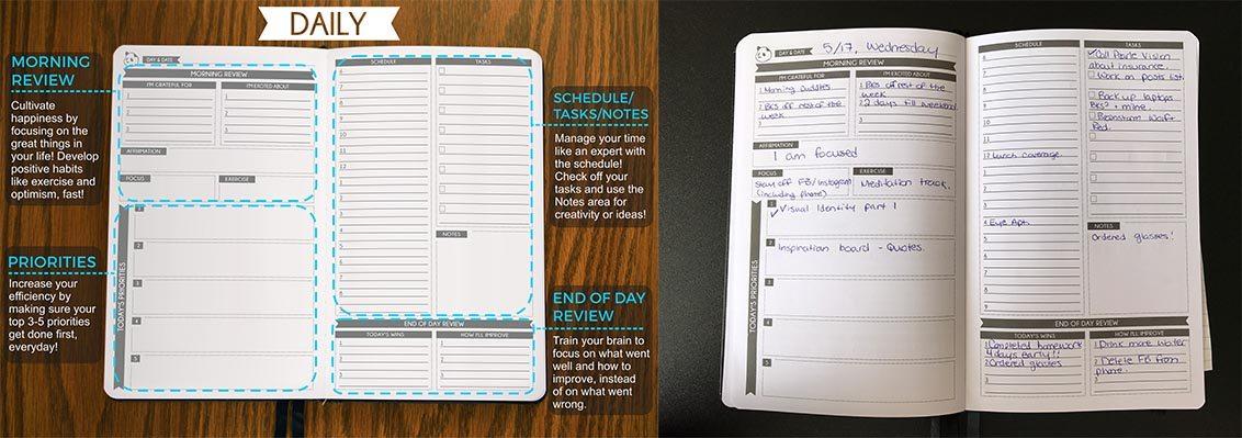 Panda Planner daily page layout \ Image: Dakster Sullivan