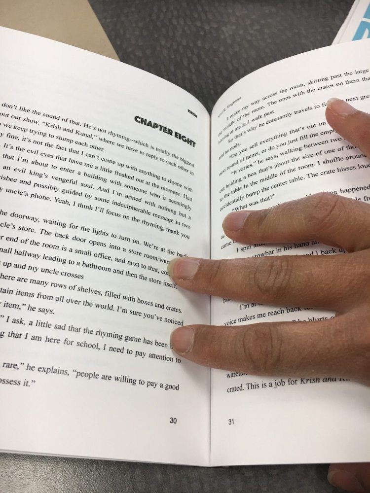 inside of book. page number and headers on inner margin instead of outer margin. oops