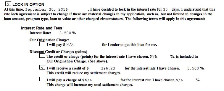 Refinance Terms: 3.5% plus credit just under $400.