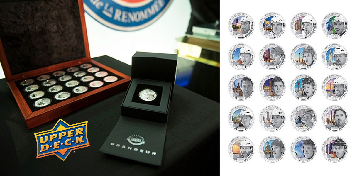 Upperdeck NHL coins on display