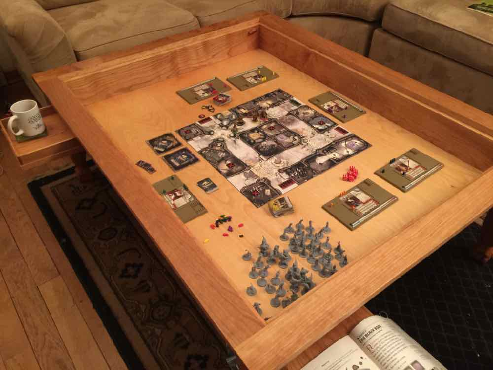 Zombicide set up in gaming table.