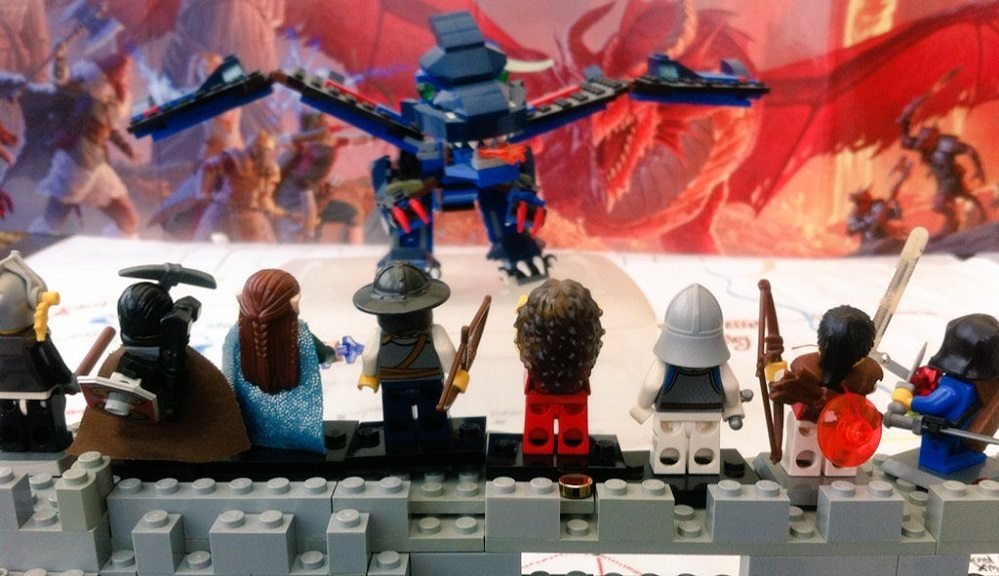 LEGO D&D blue dragon attacks