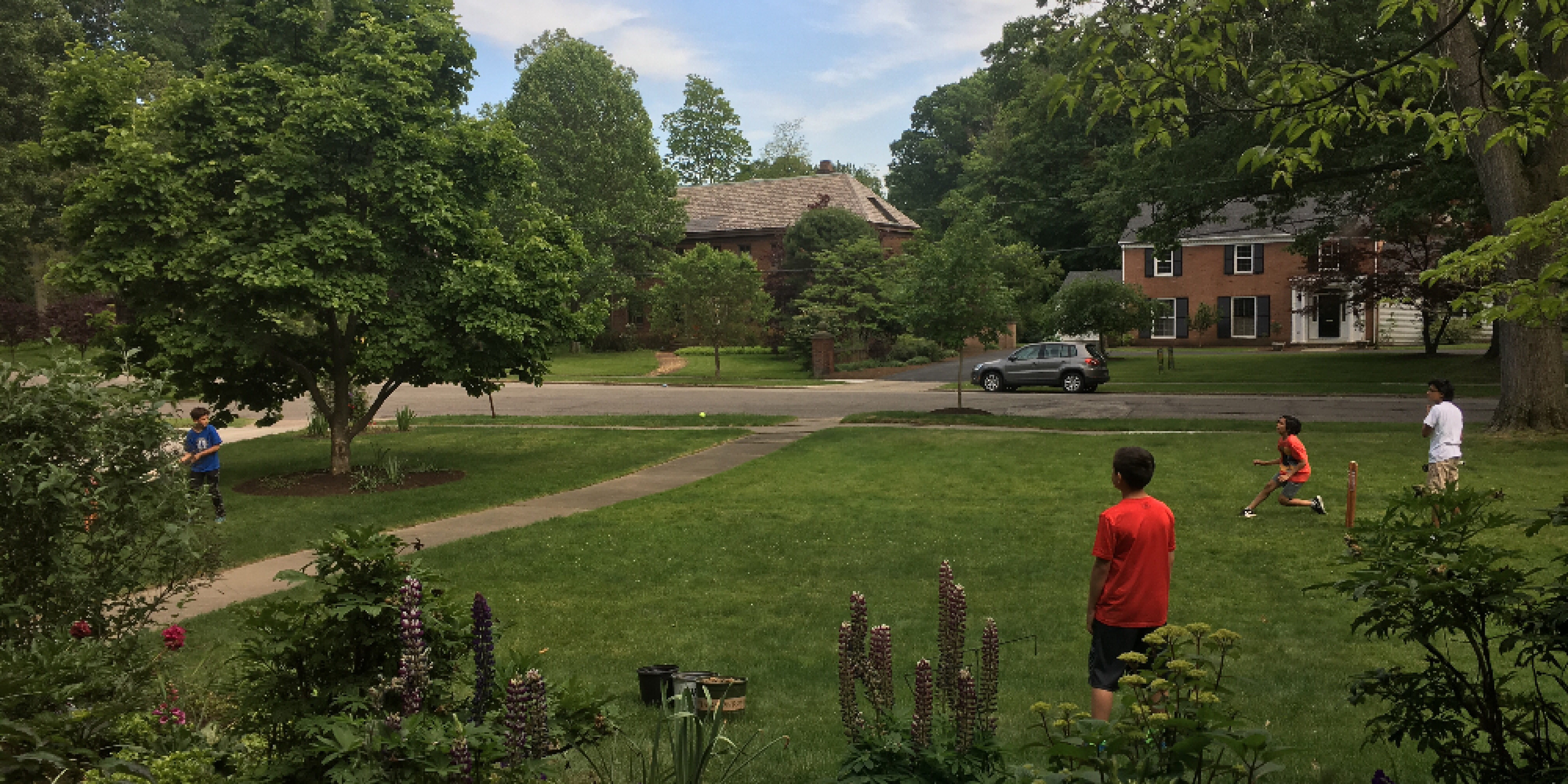 Image of kids playing cricket in front yard